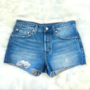 Levi's 501 Distressed Button Fly Jean Shorts Sz 26